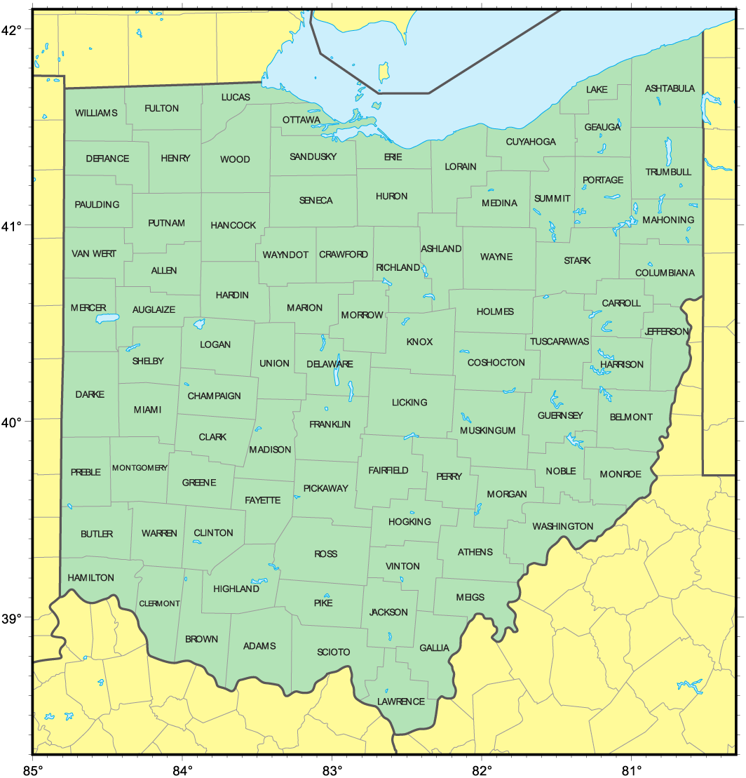 Counties Map of Ohio large map