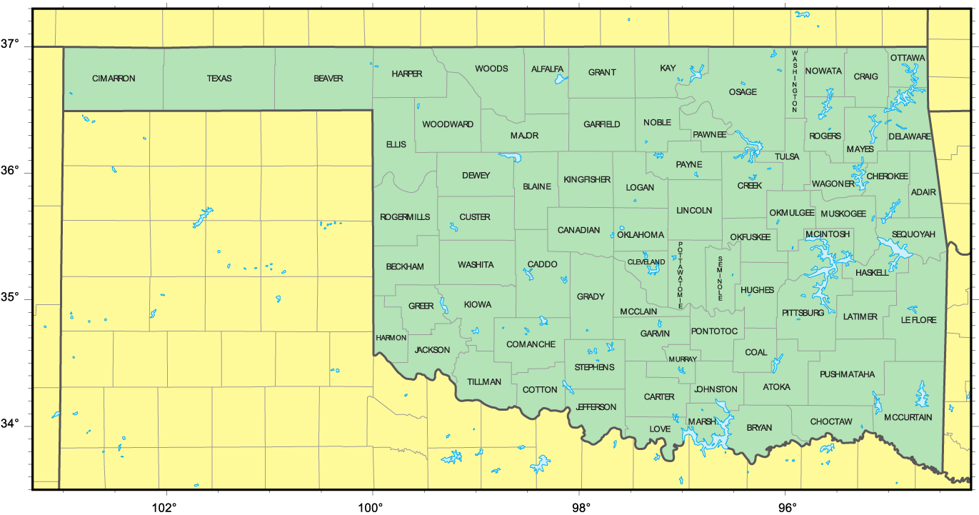 Counties Map Of Oklahoma Mapsofnet - Counties of oklahoma map