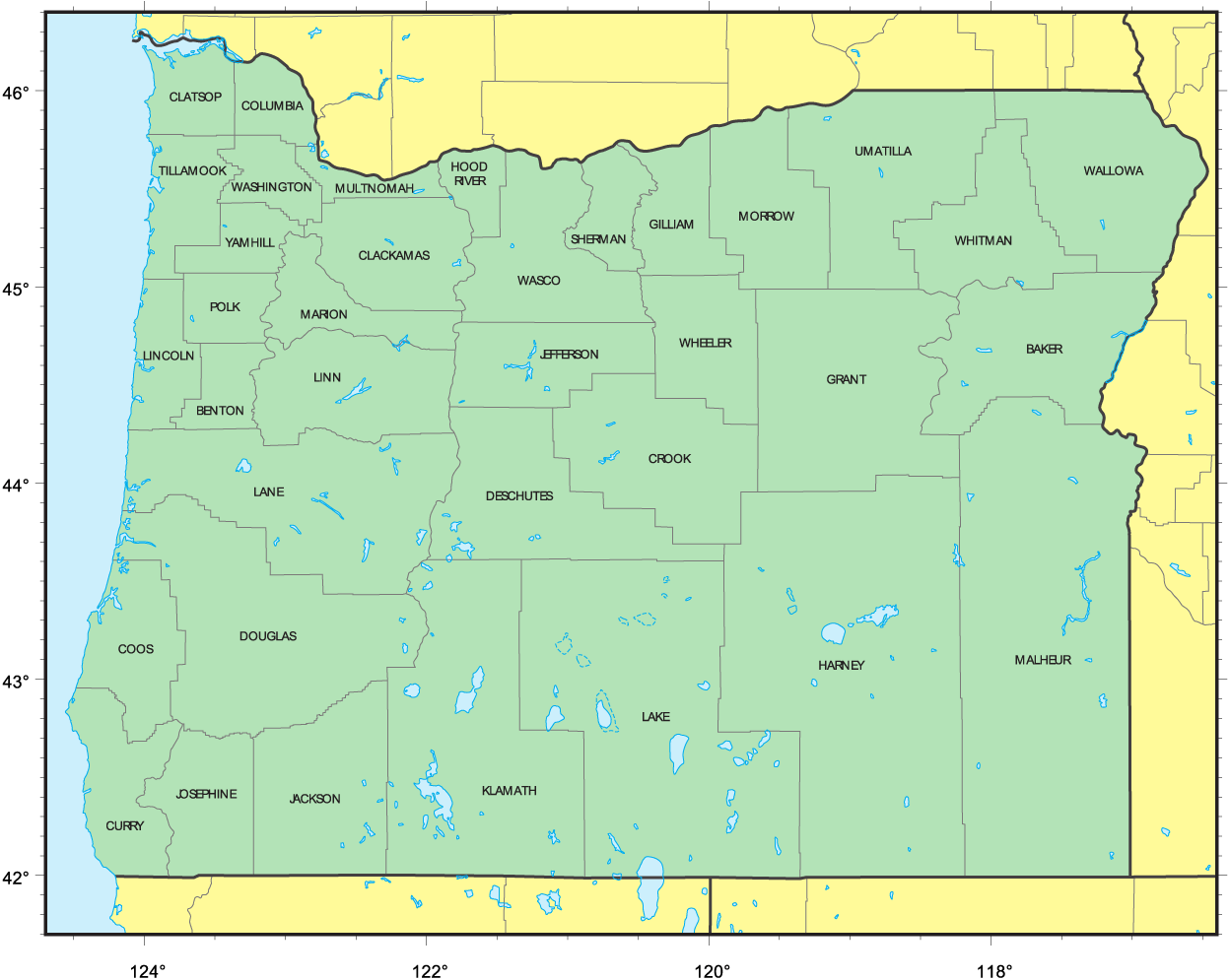 Counties Map of Oregon • Mapsof.net on