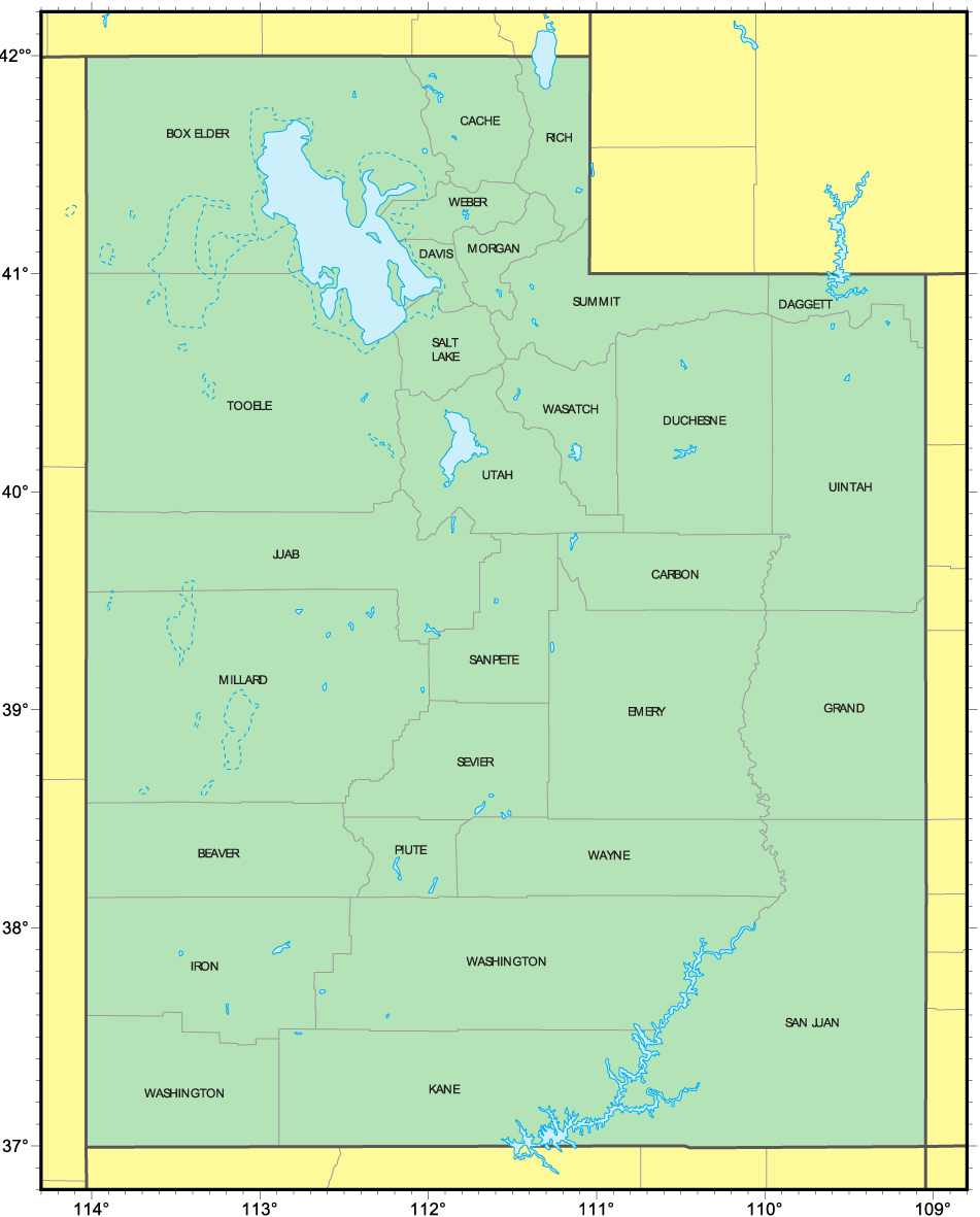 Counties Map of Utah large map