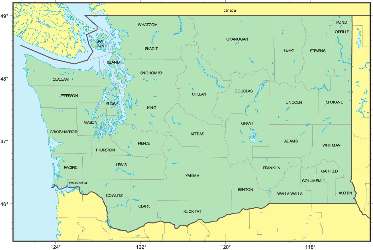 Counties Map Of Washington Mapsofnet - Washington counties map