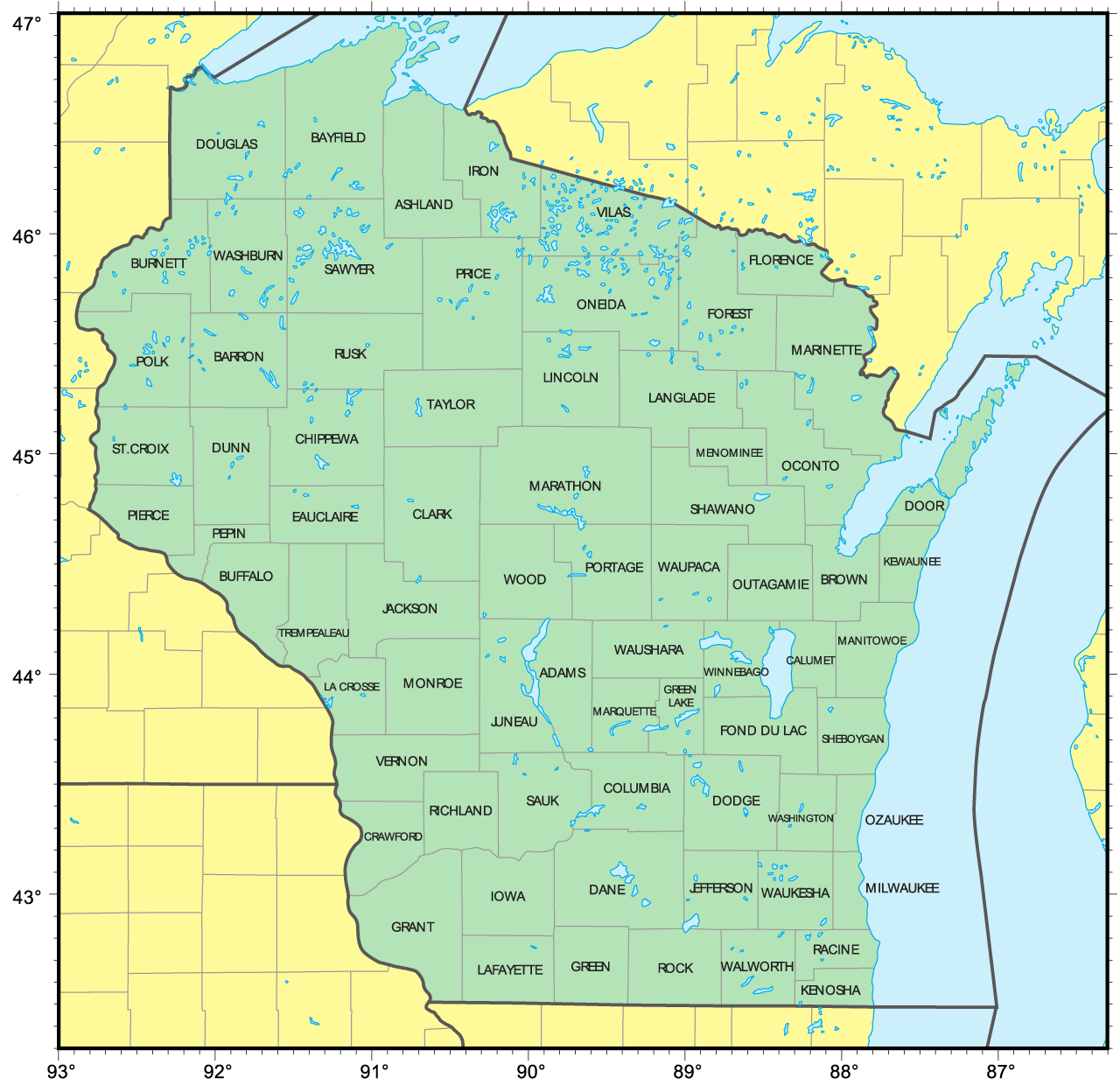 Counties Map Of Wisconsin Mapsofnet - Wisconsin road map usa