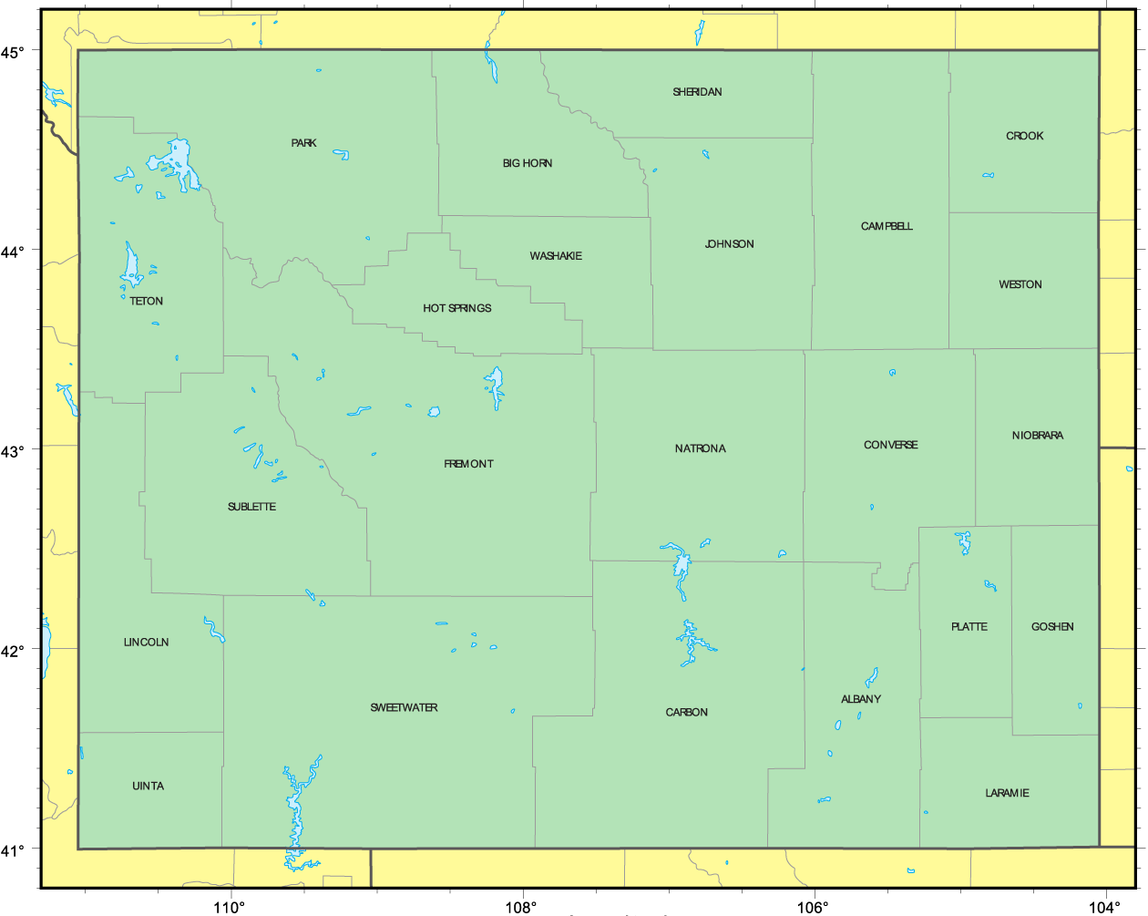 Counties Map Of Wyoming Mapsofnet - Map wyoming counties