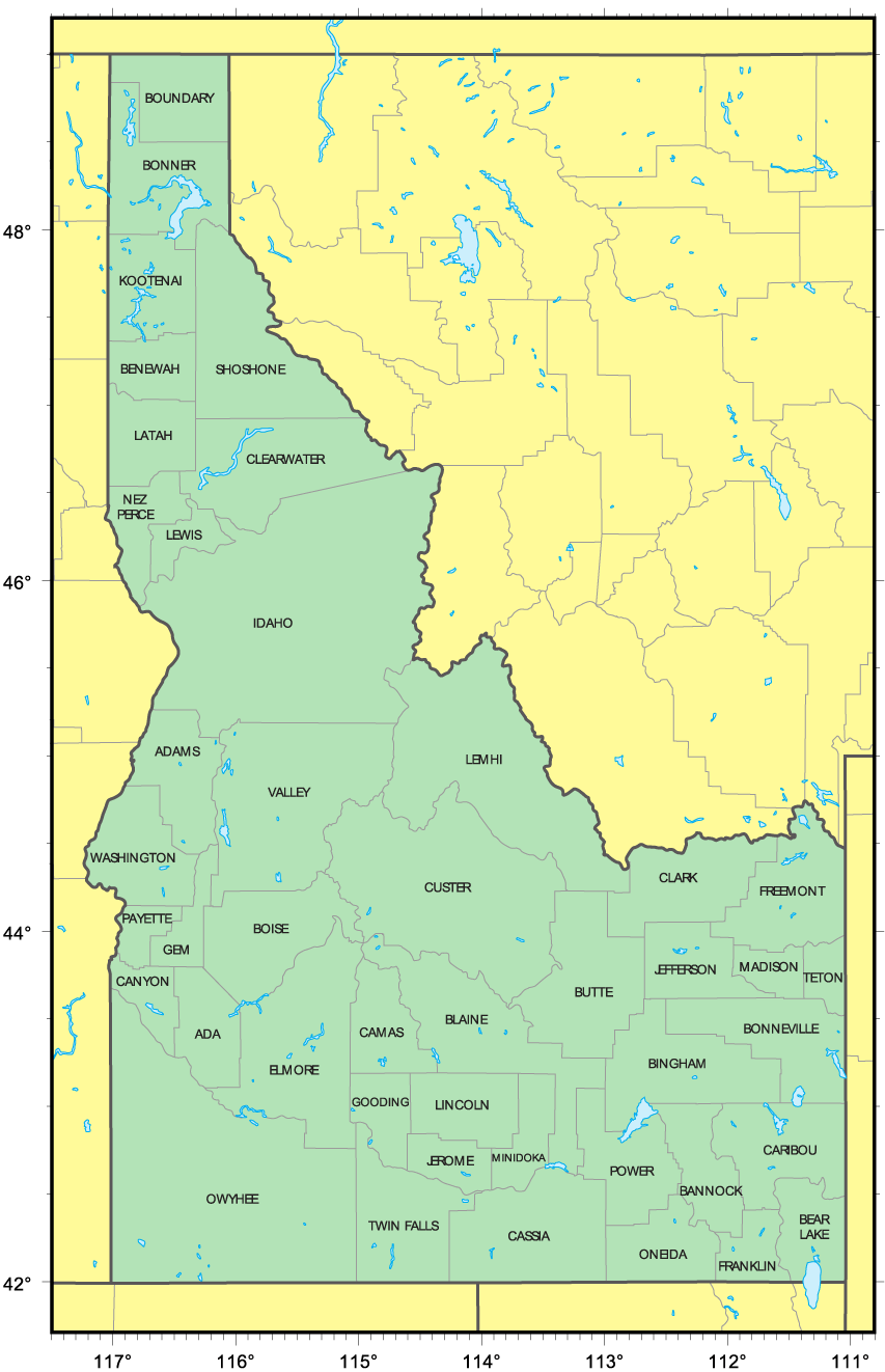 Counties Map Of Idaho Mapsof Net