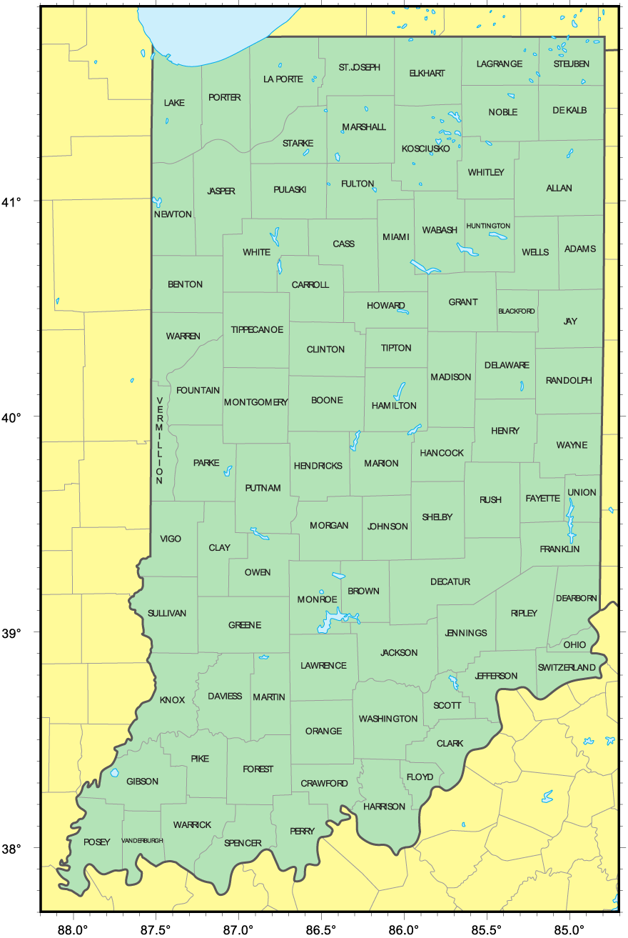county map of indiana world map