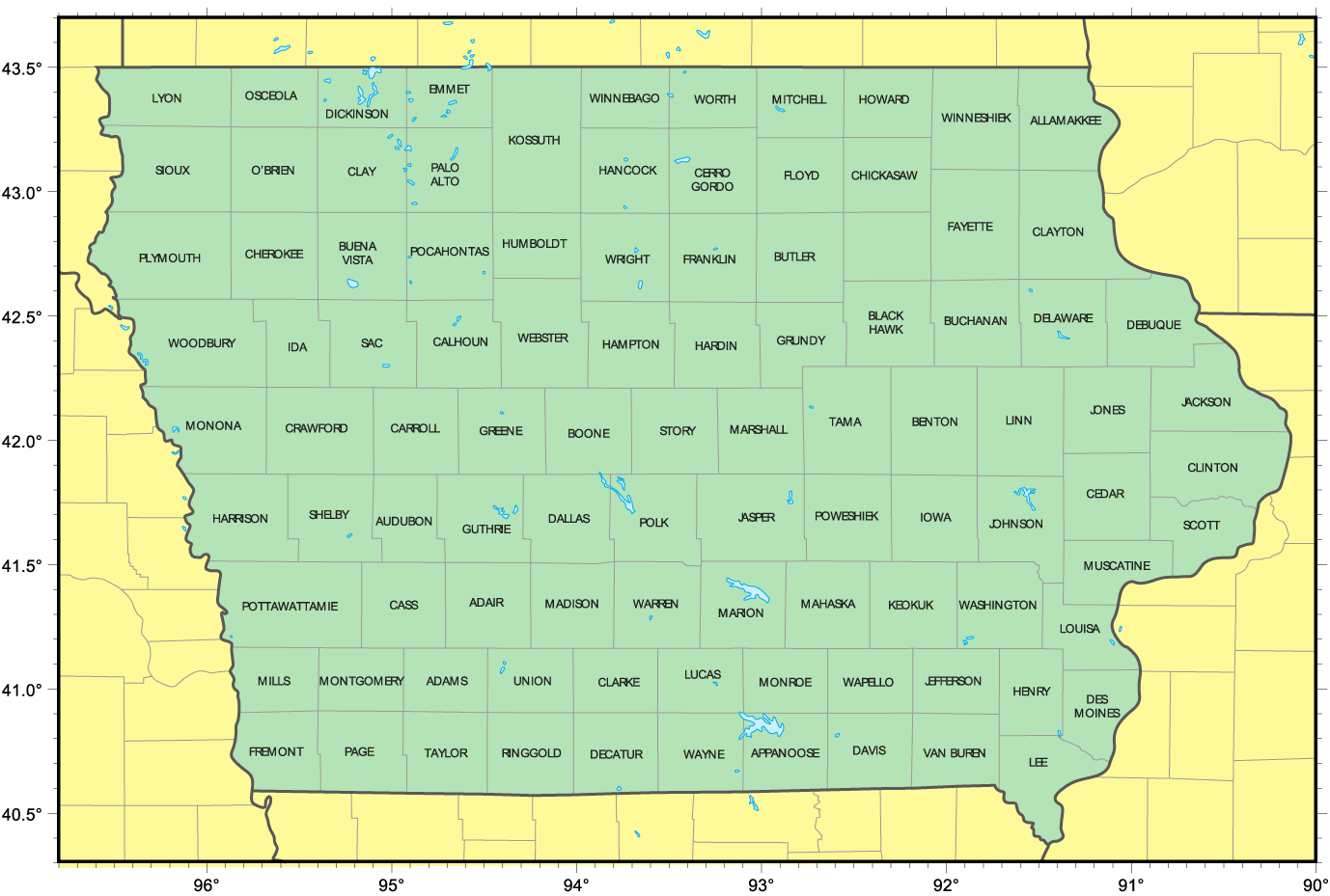 Counties Map Of Iowa Mapsofnet - Map of iowa counties