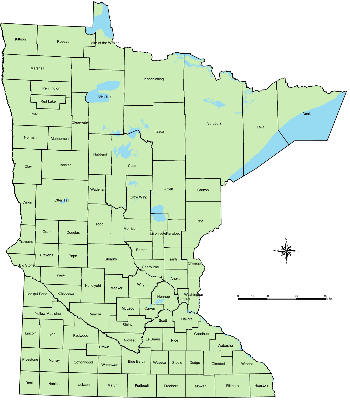 Counties Of Minnesota Map Mapsofnet - County maps of minnesota