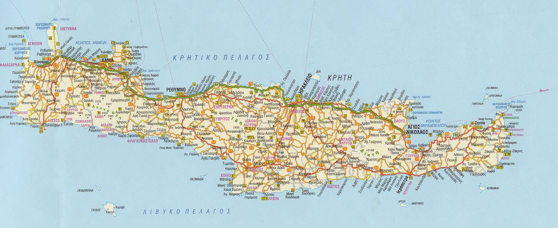 Crete Road Map Mapsof Net