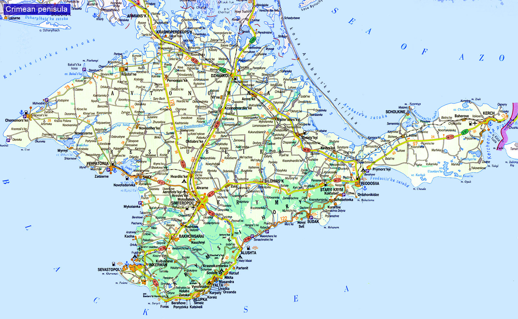 Crimean Peninsula large map