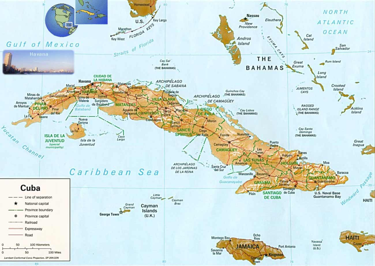Cuba Physical Map large map