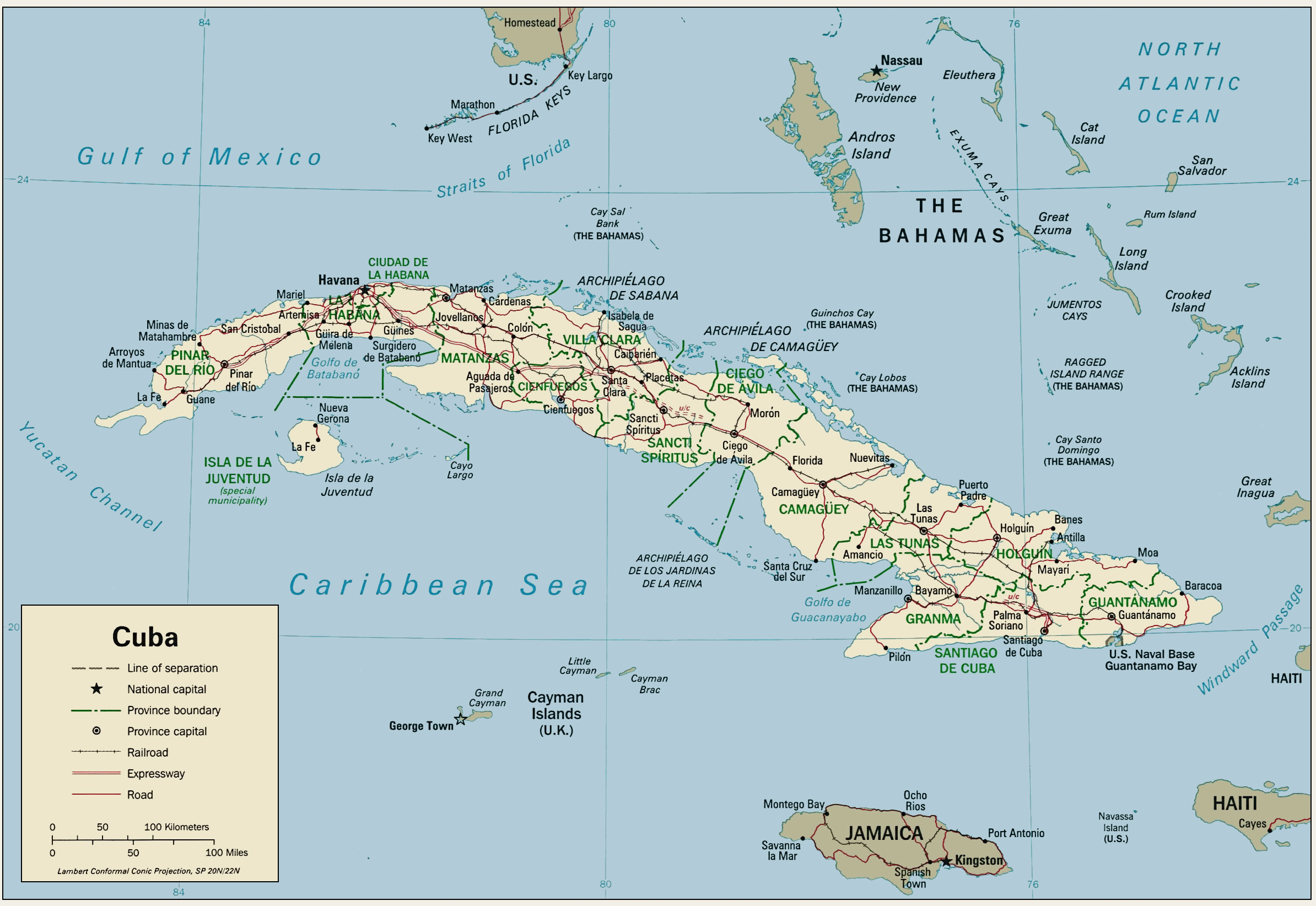 Cuba Political Map 1 large map