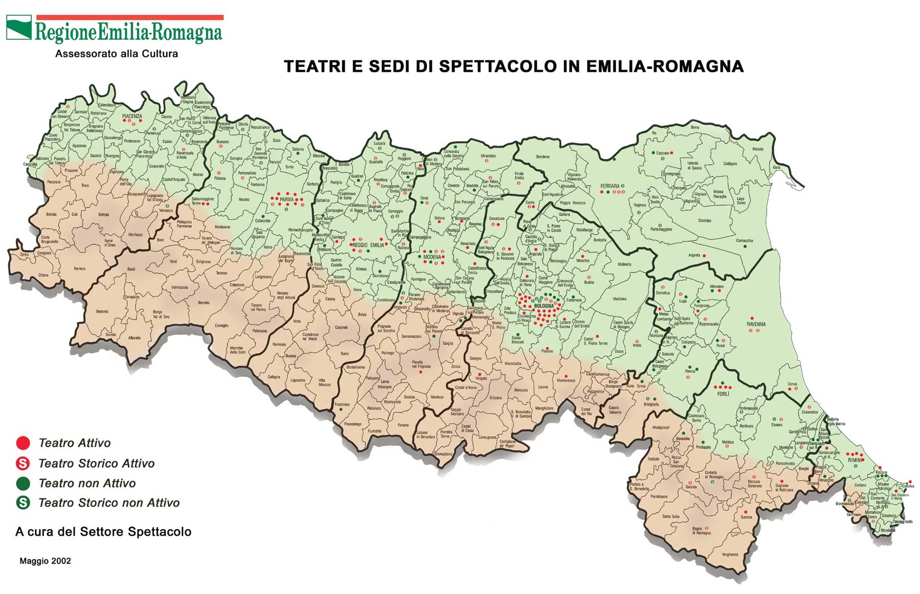 Cultural (theatre) Map of Emilia Romagna large map