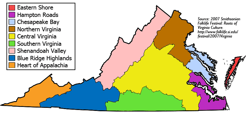 Cultural Regions of Virginia large map