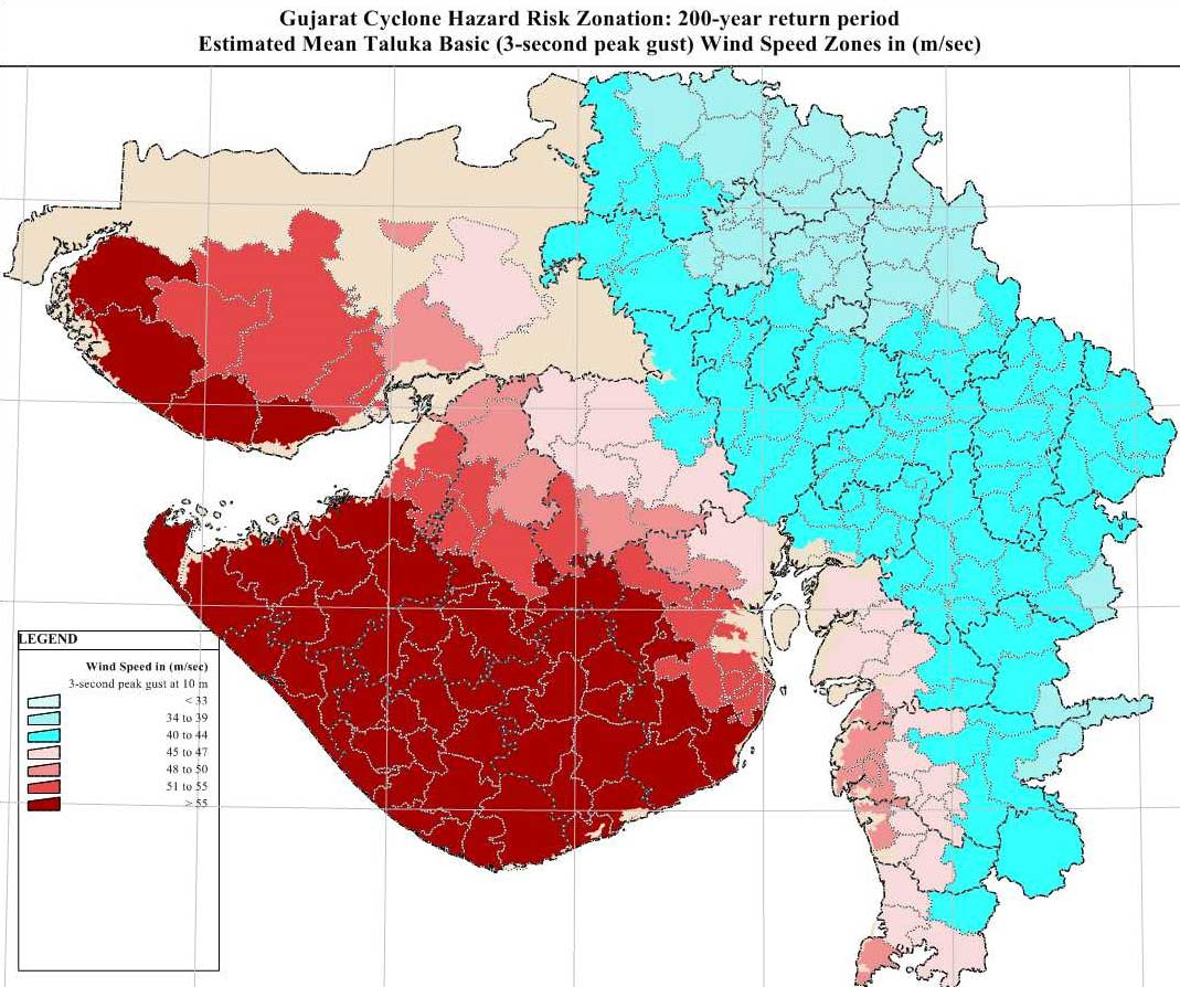 Cyclone Hazard Map Of Gujarat Mapsof Net