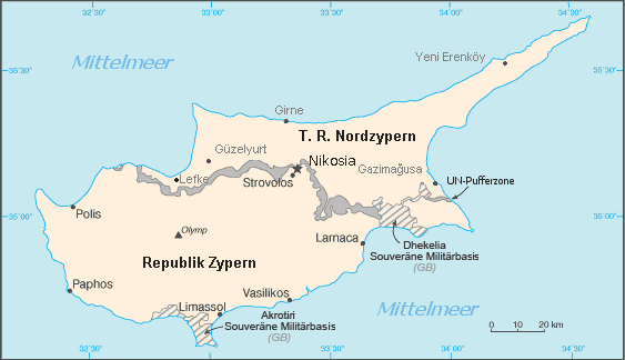 Cyprus Administration Map German large map