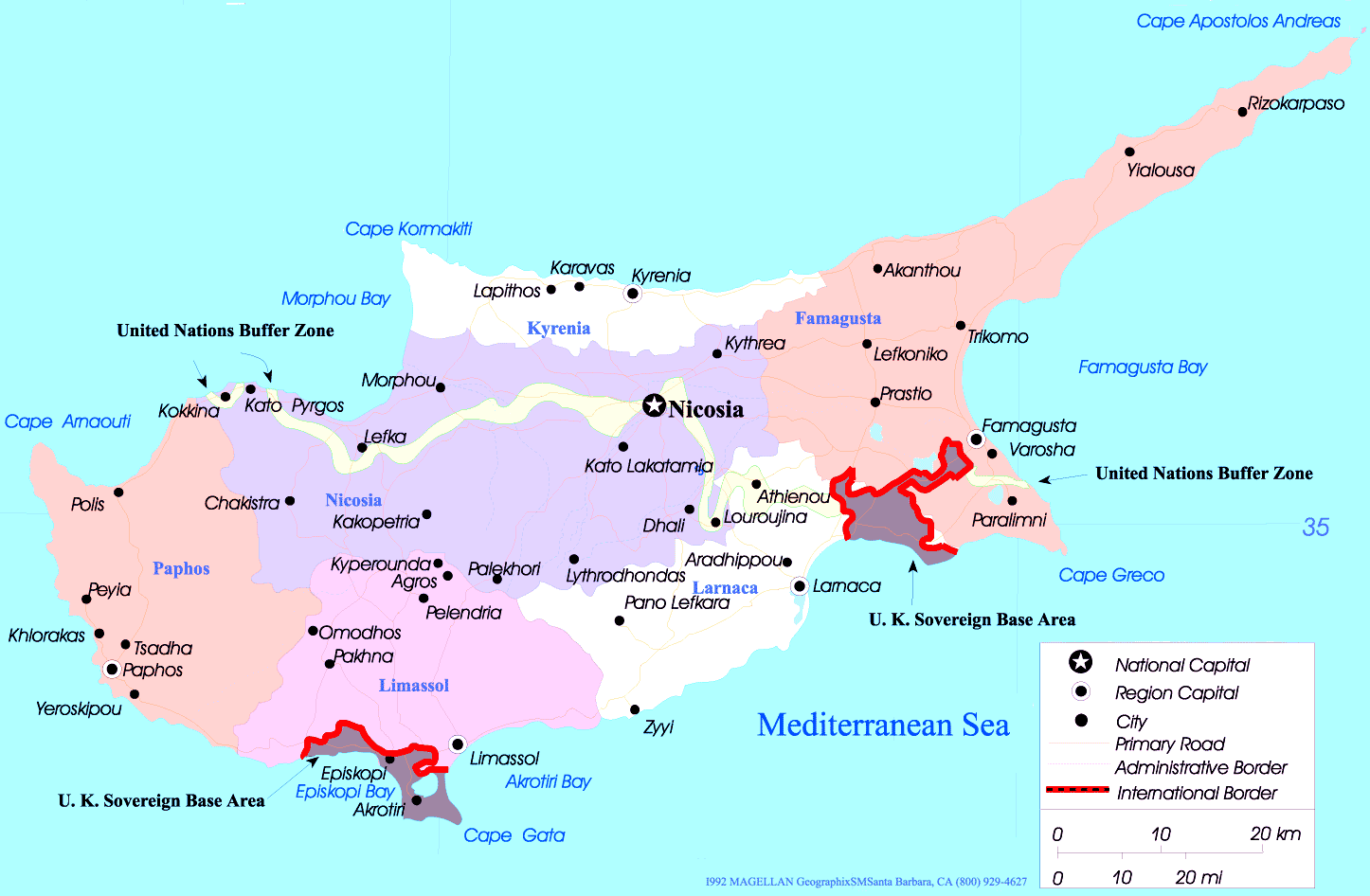 Cyprus Political Map large map