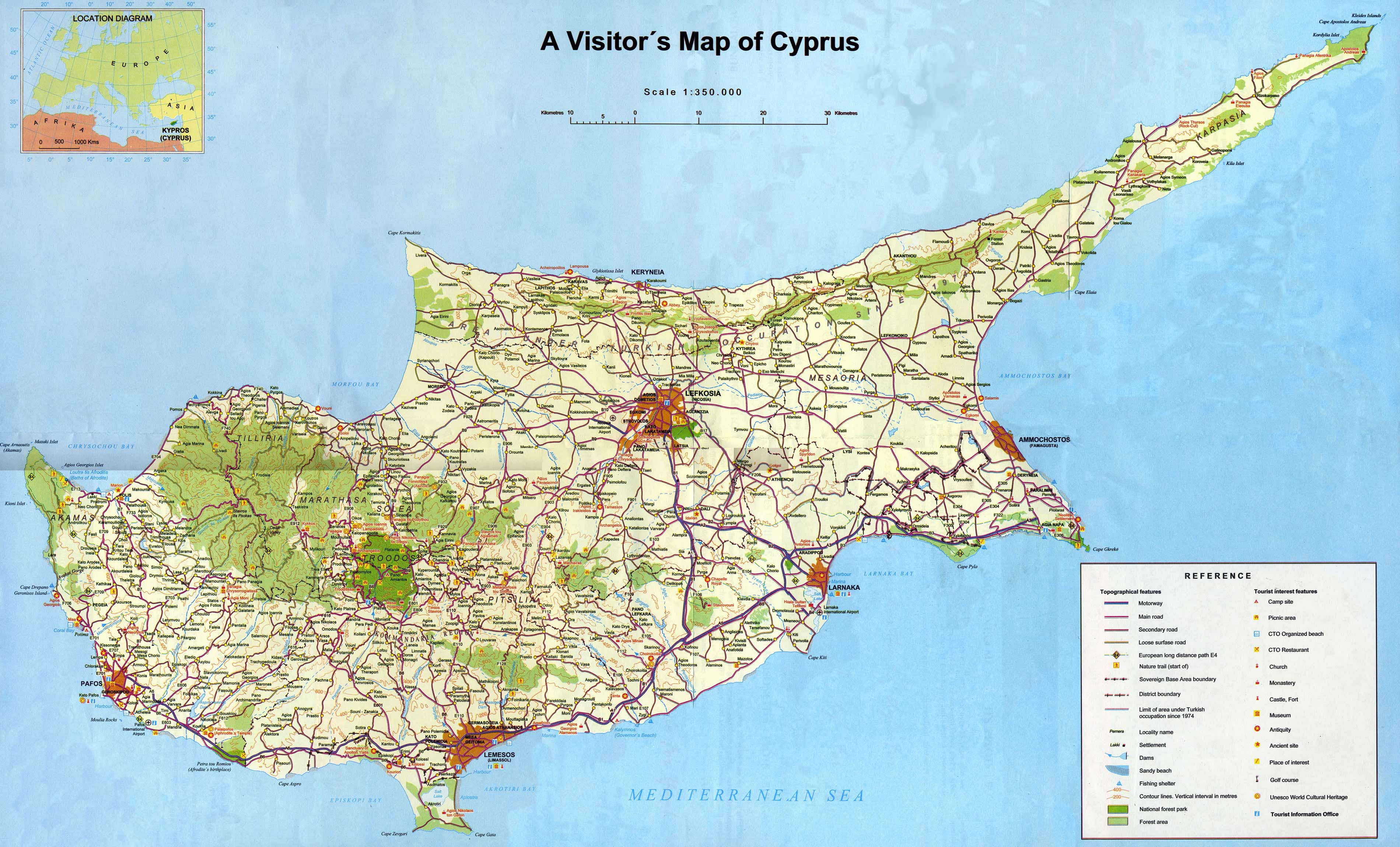 Cyprus Tourist Map large map