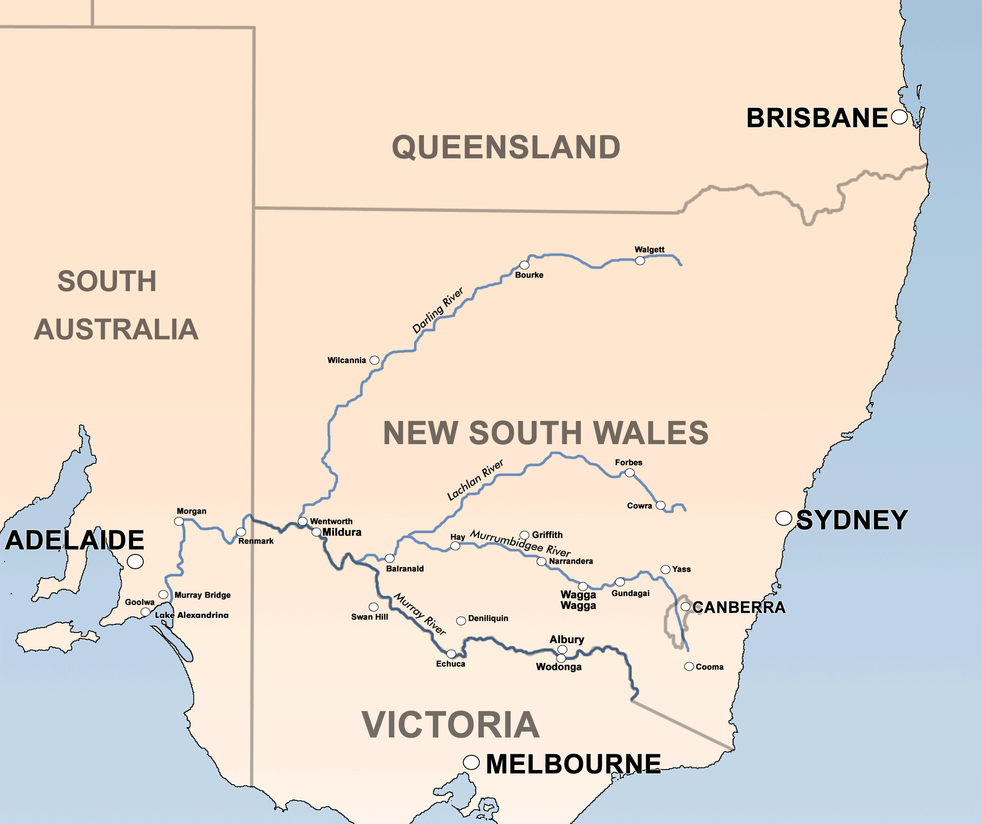 Australia Map Rivers.Darling Lachlan Murrumbidgee Murray Rivers Mapsof Net