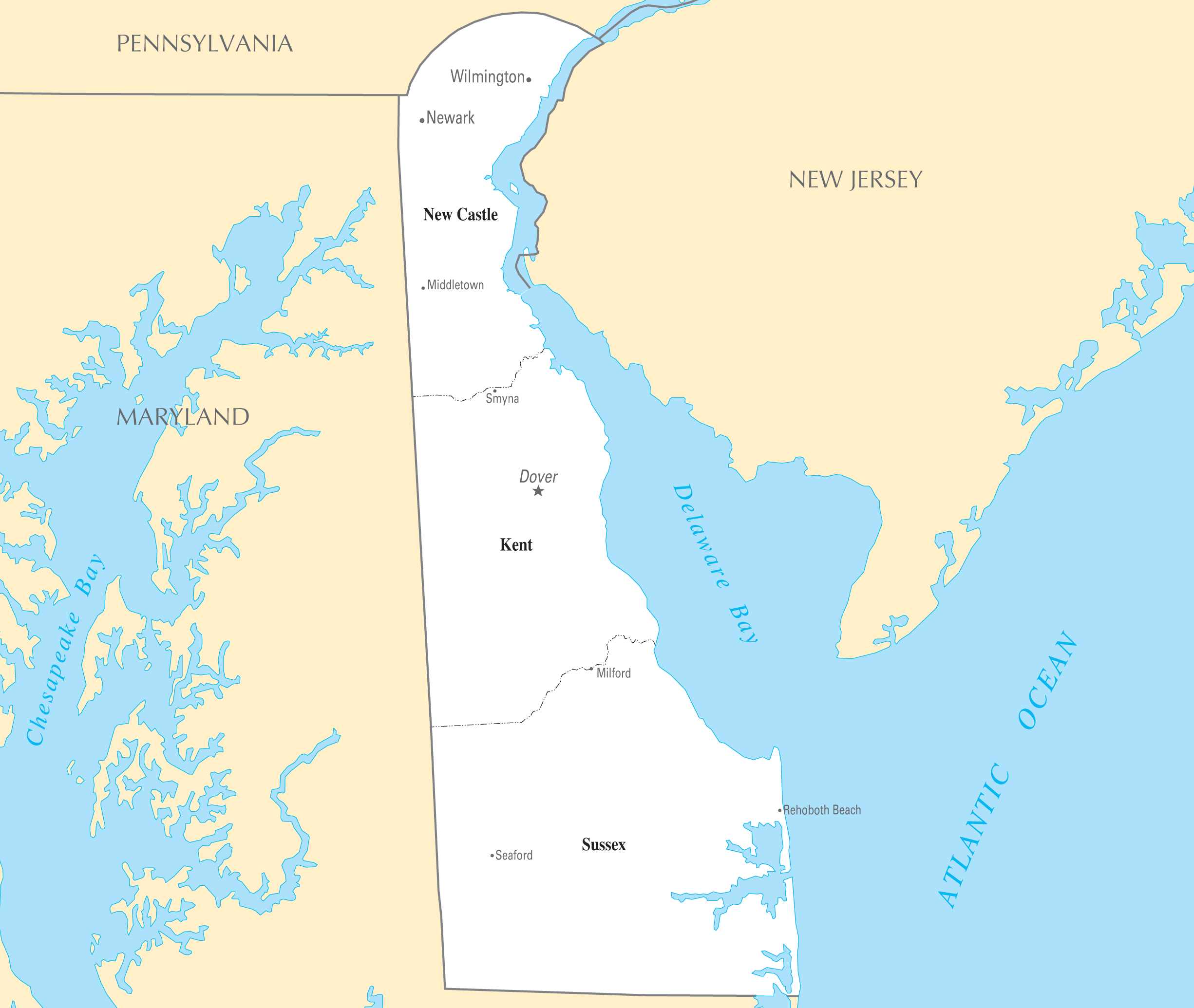 Delaware Cities And Towns large map