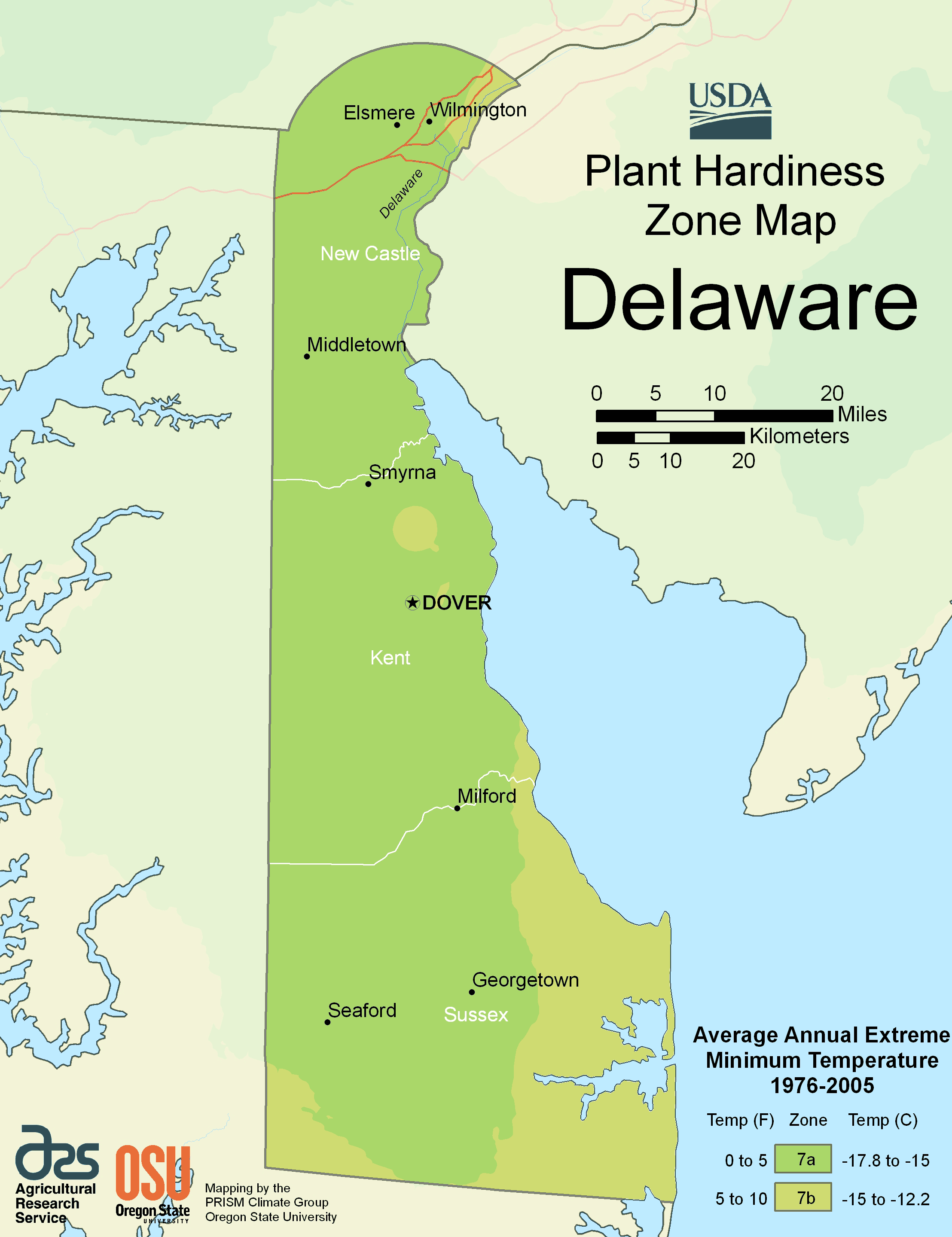 Delaware Plant Hardiness Zone Map large map
