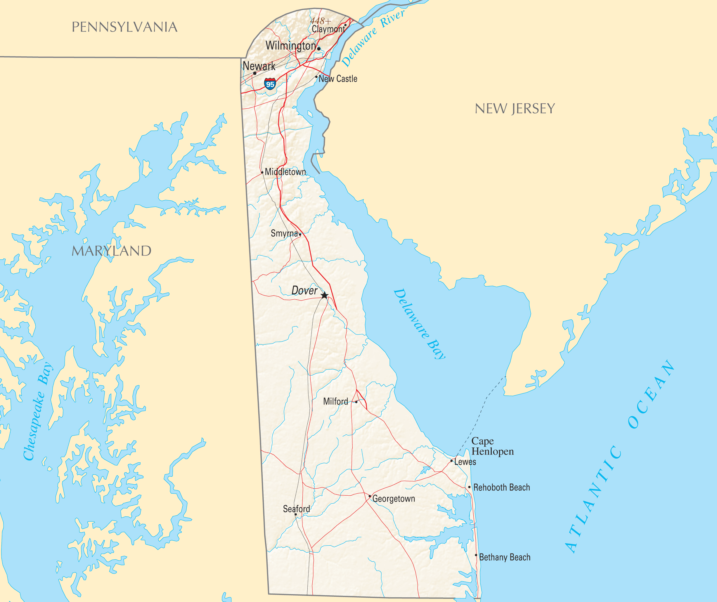 Delaware Reference Map large map