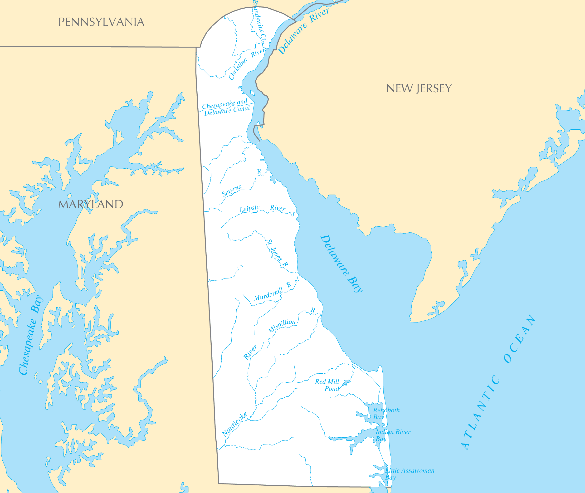 Delaware Rivers And Lakes large map