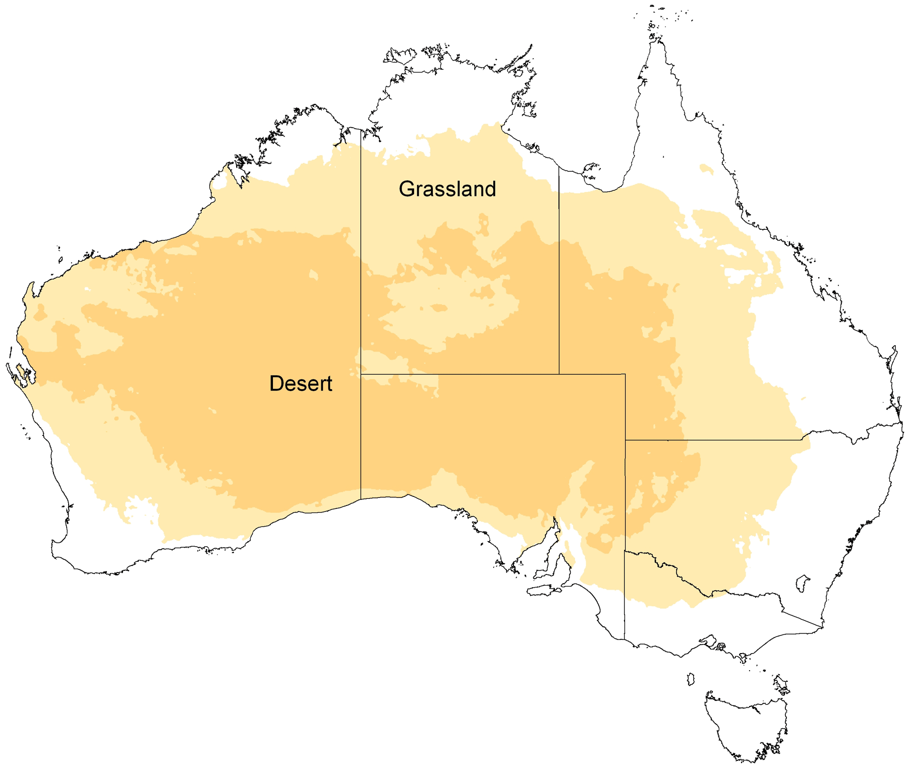 Desert And Grassland Map of Australia