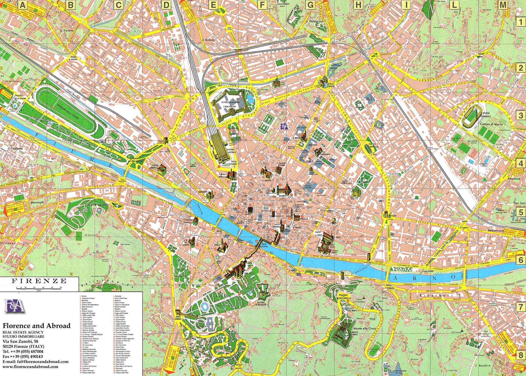 Detailed City Map of Florence (firenze) large map