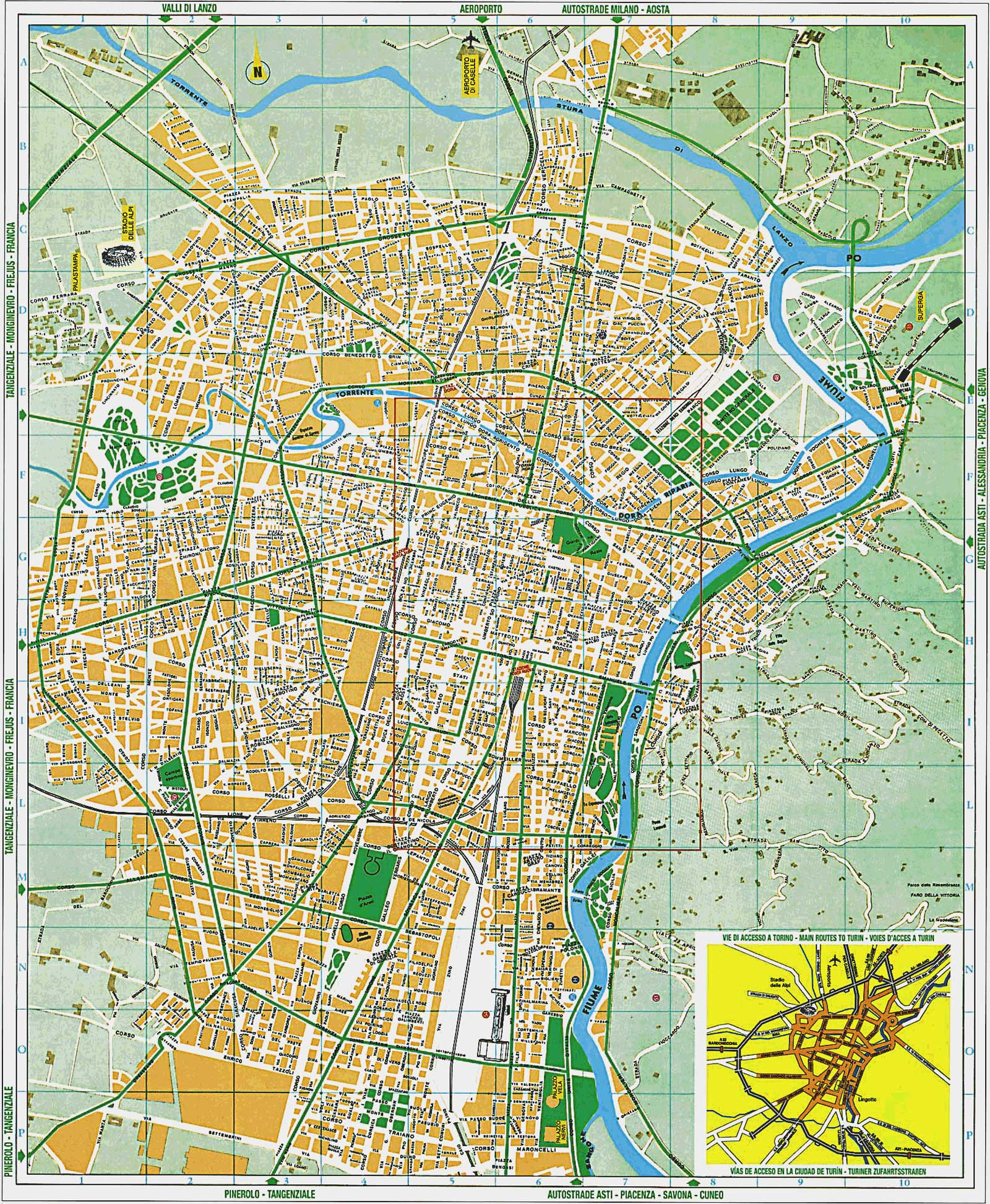 Detailed City Map of Turin (torino) large map