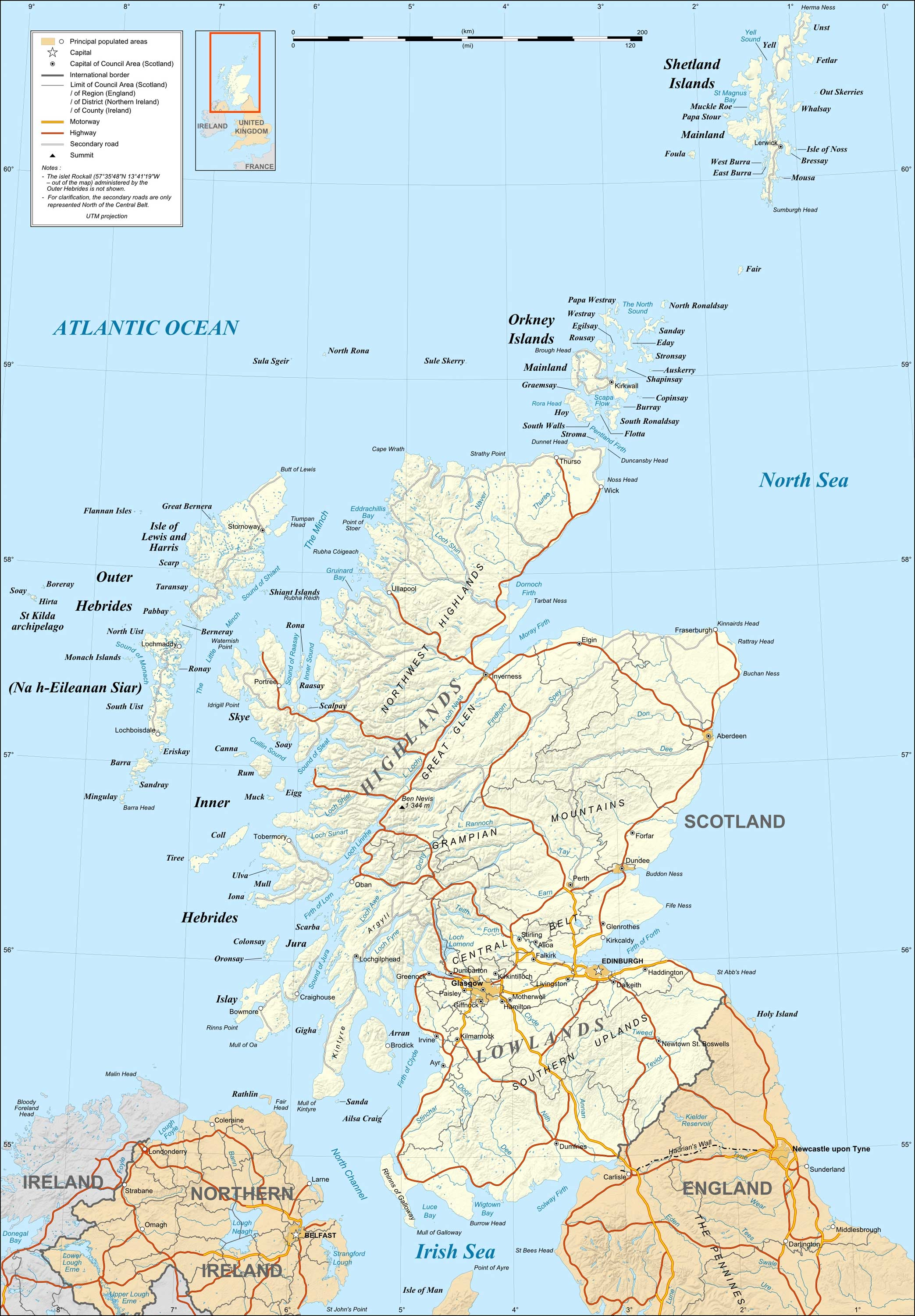 Detailed Map of Scotland large map