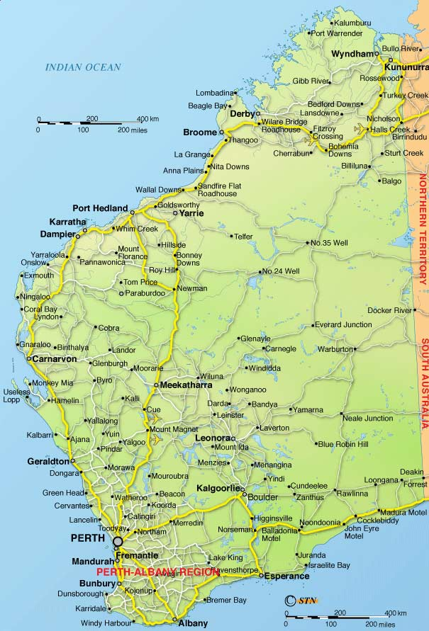 Detailed Map of Western Australia Mapsofnet