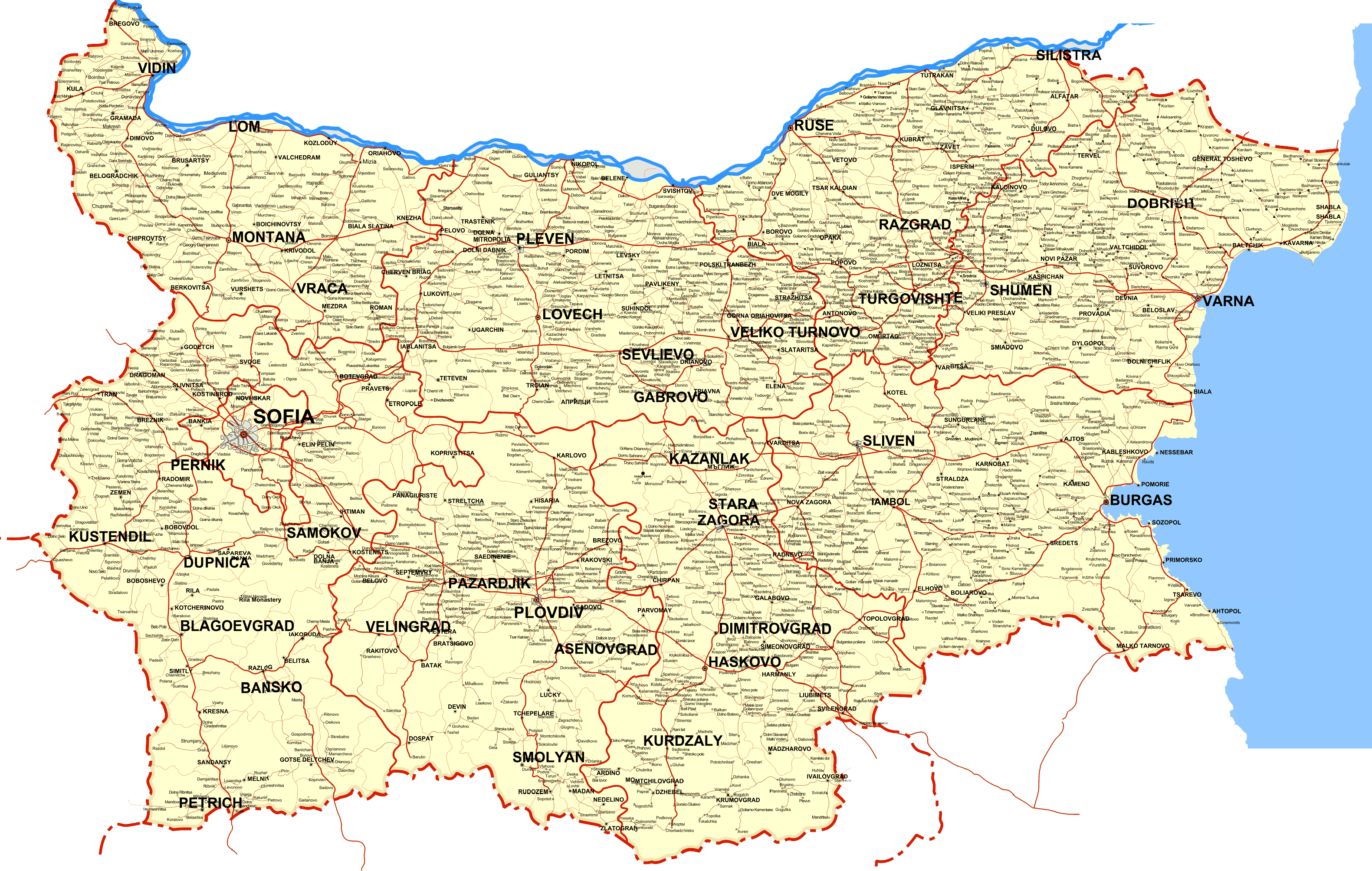Detailed Map of Bulgaria large map