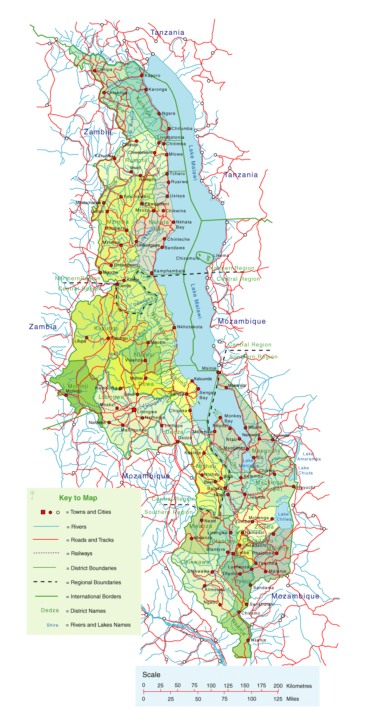 Detailed Map of Malawi Mapsofnet