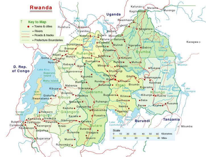 physical map of rwanda. Detailed Rwanda Map