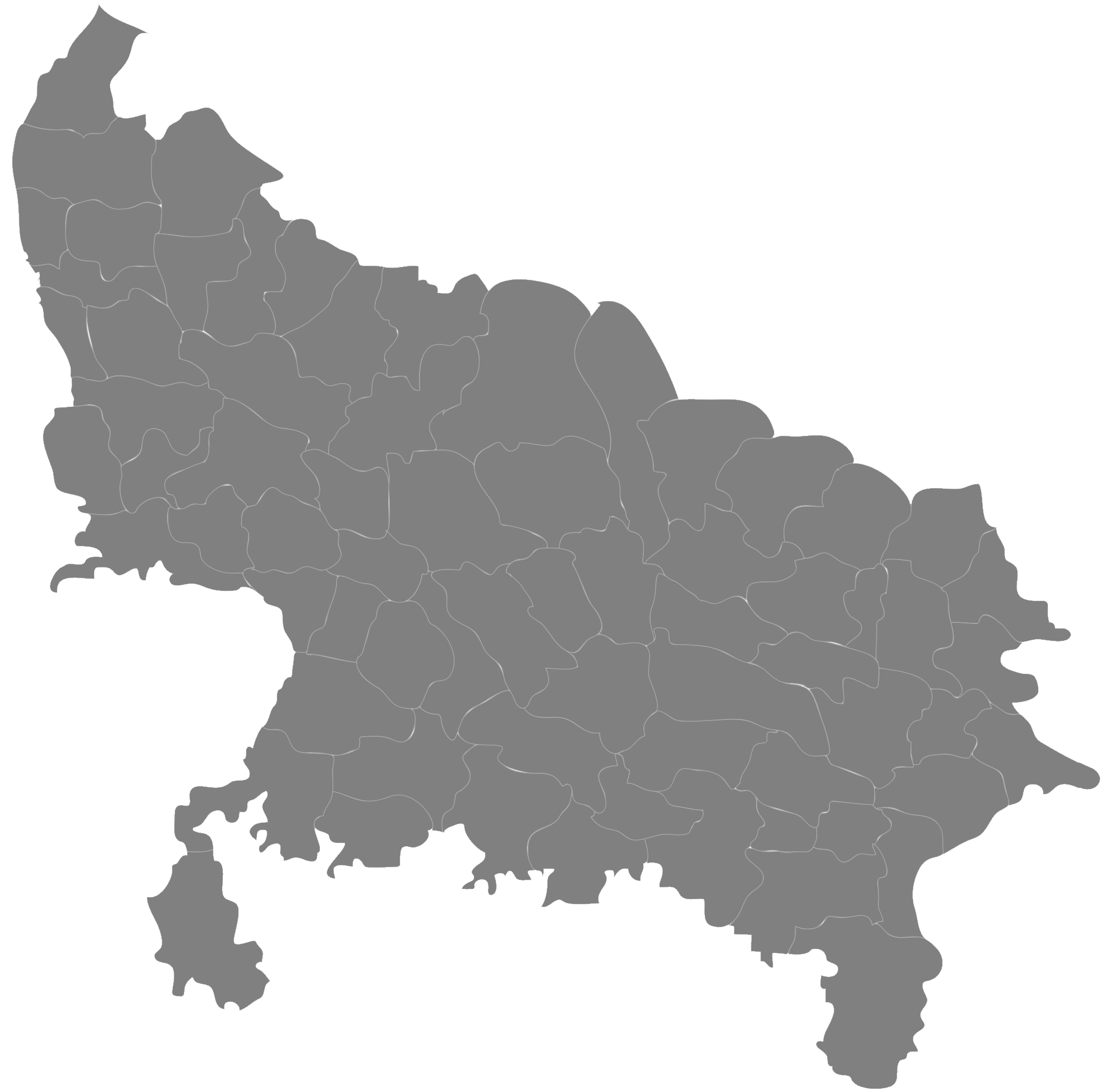 Districts Blank Map of Uttar Pradesh • Mapsof net