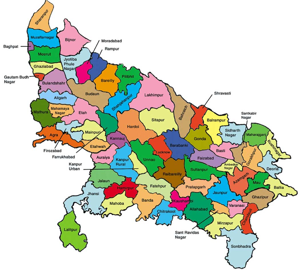 Districts Map of Uttar Pradesh large map