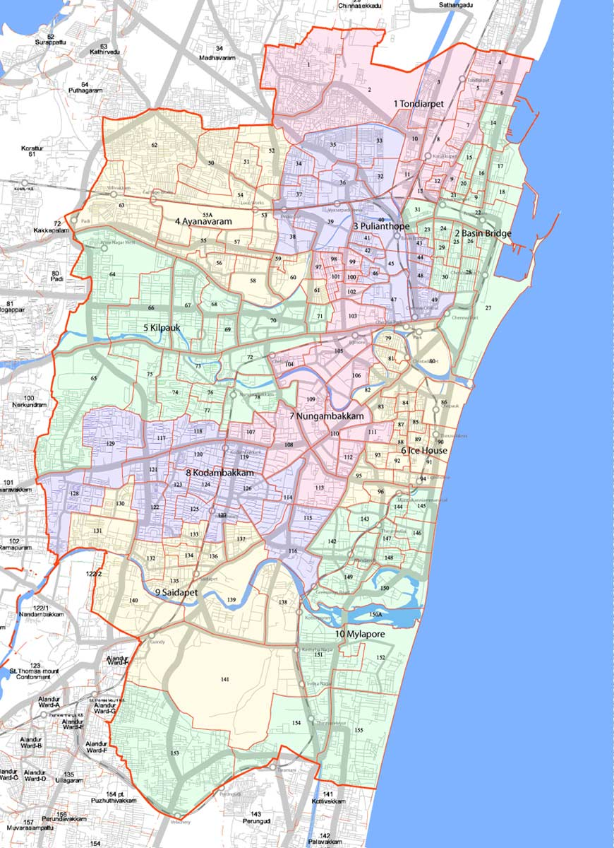 Divisions Map of Chennai