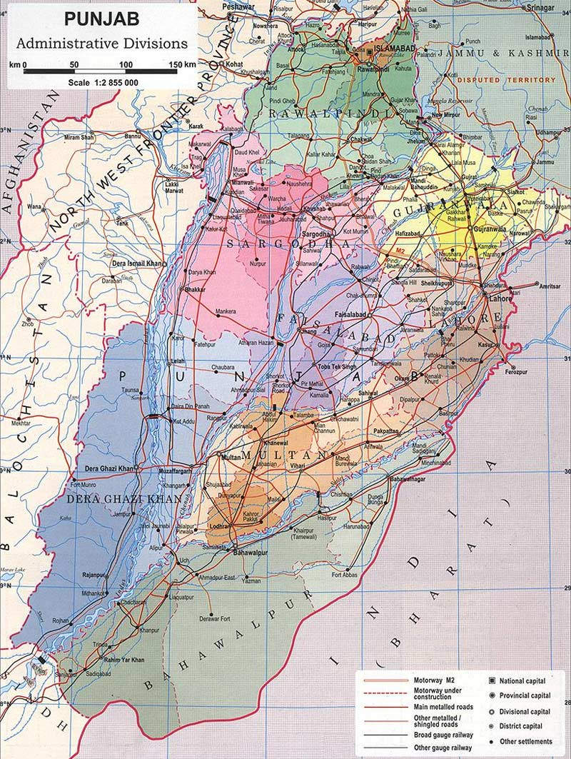 Divisions Map of Punjab • Mapsof net
