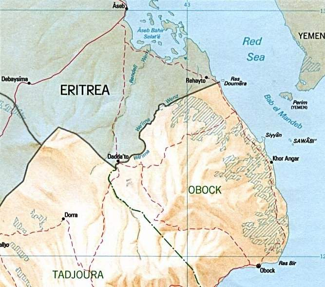 Djibouti Eritrea Border Map large map