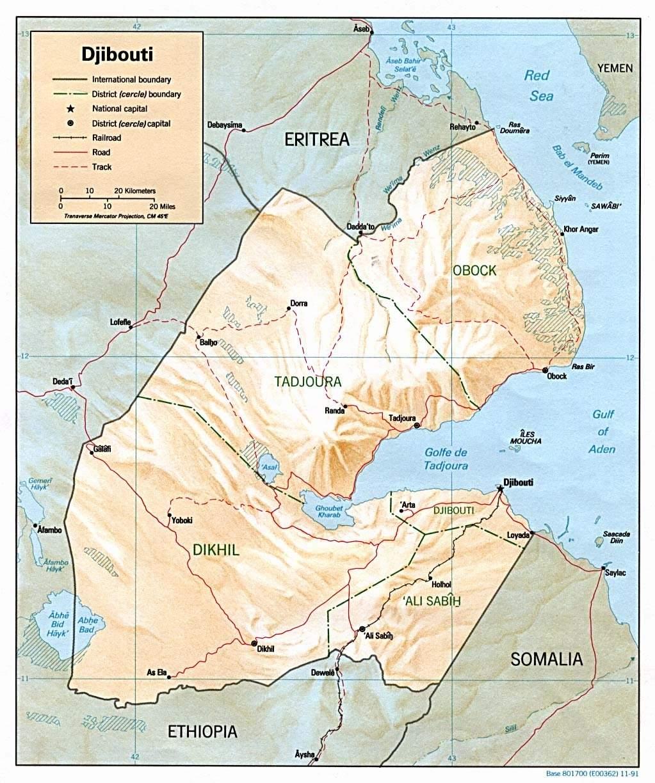 Djibouti Map large map