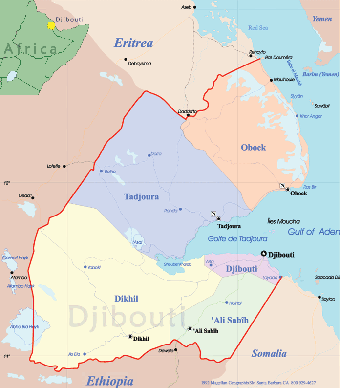 Djibouti Political Map • Mapsof.net on