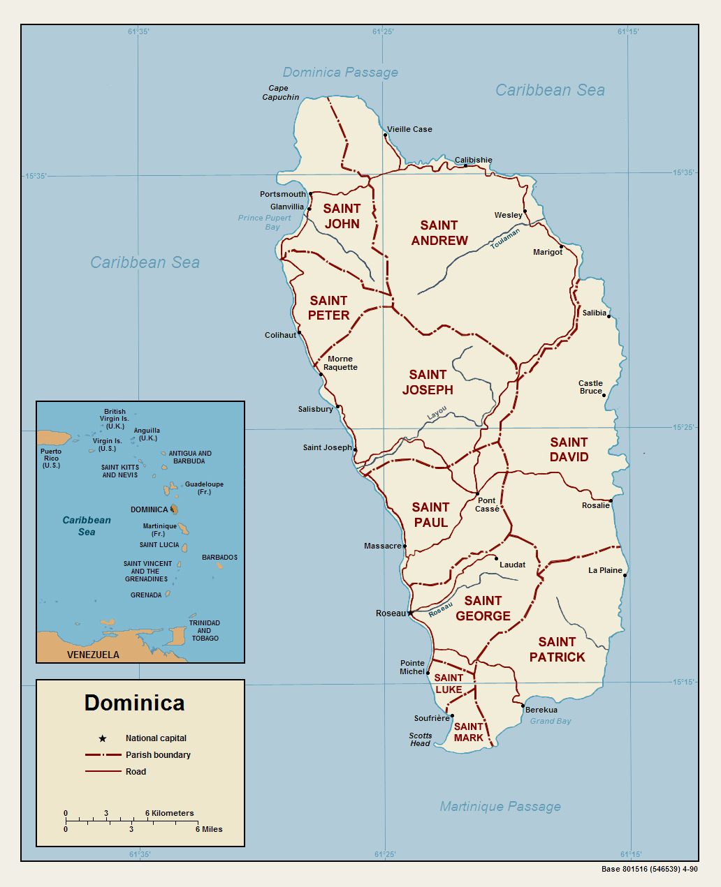 Dominica Political Map • Mapsof.net on