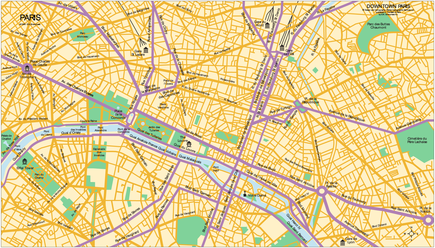 Downtown Map of Paris large map