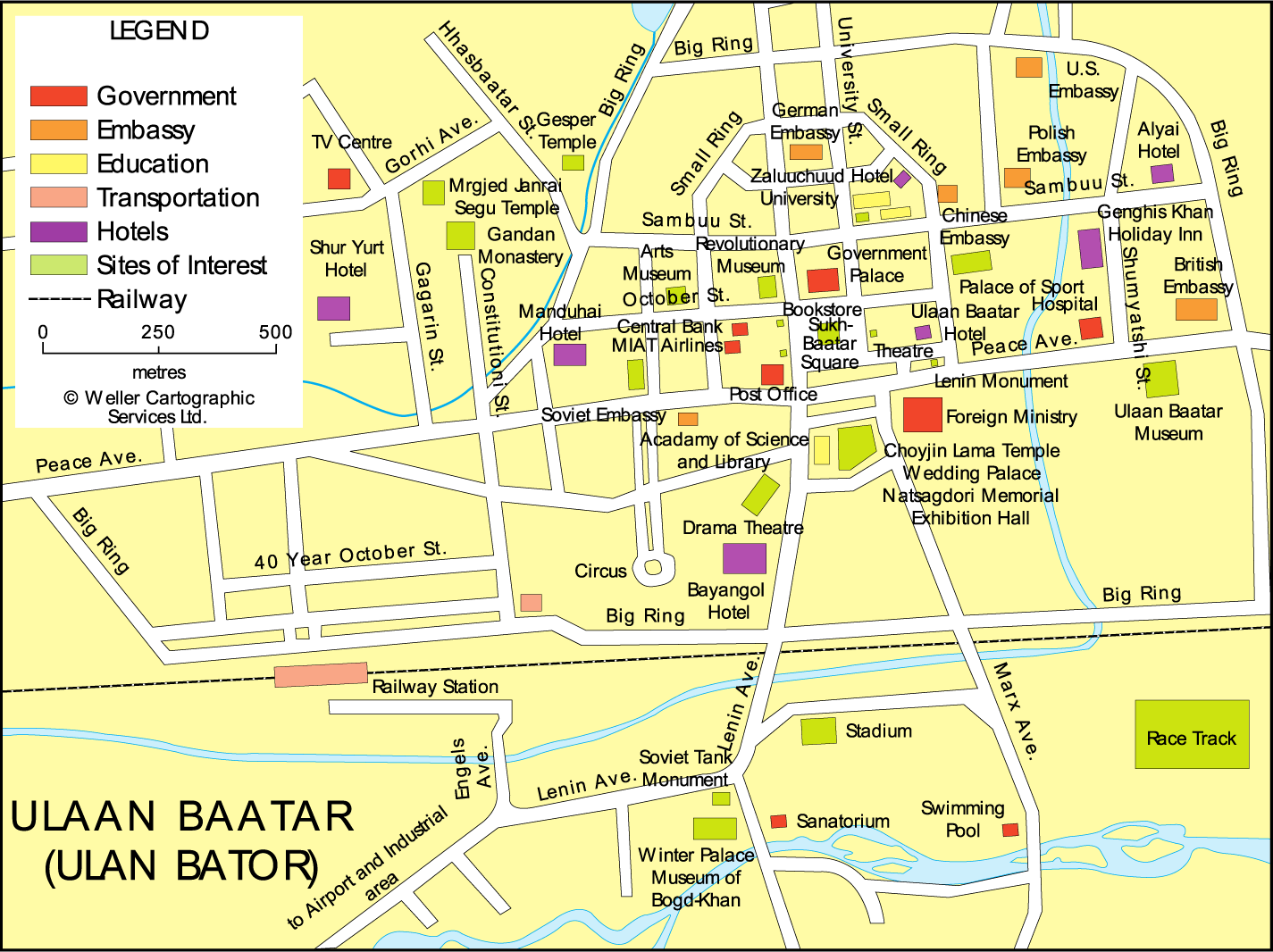 Downtown Map of Ulaanbaatar Mapsofnet