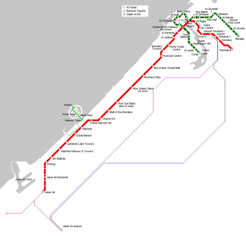 Dubai Metro Map large map