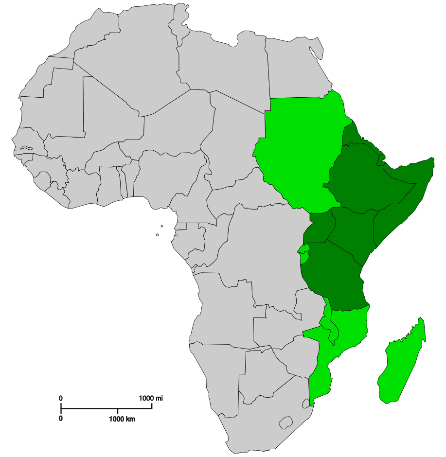 East Africa Mapsofnet - Map of eastern africa