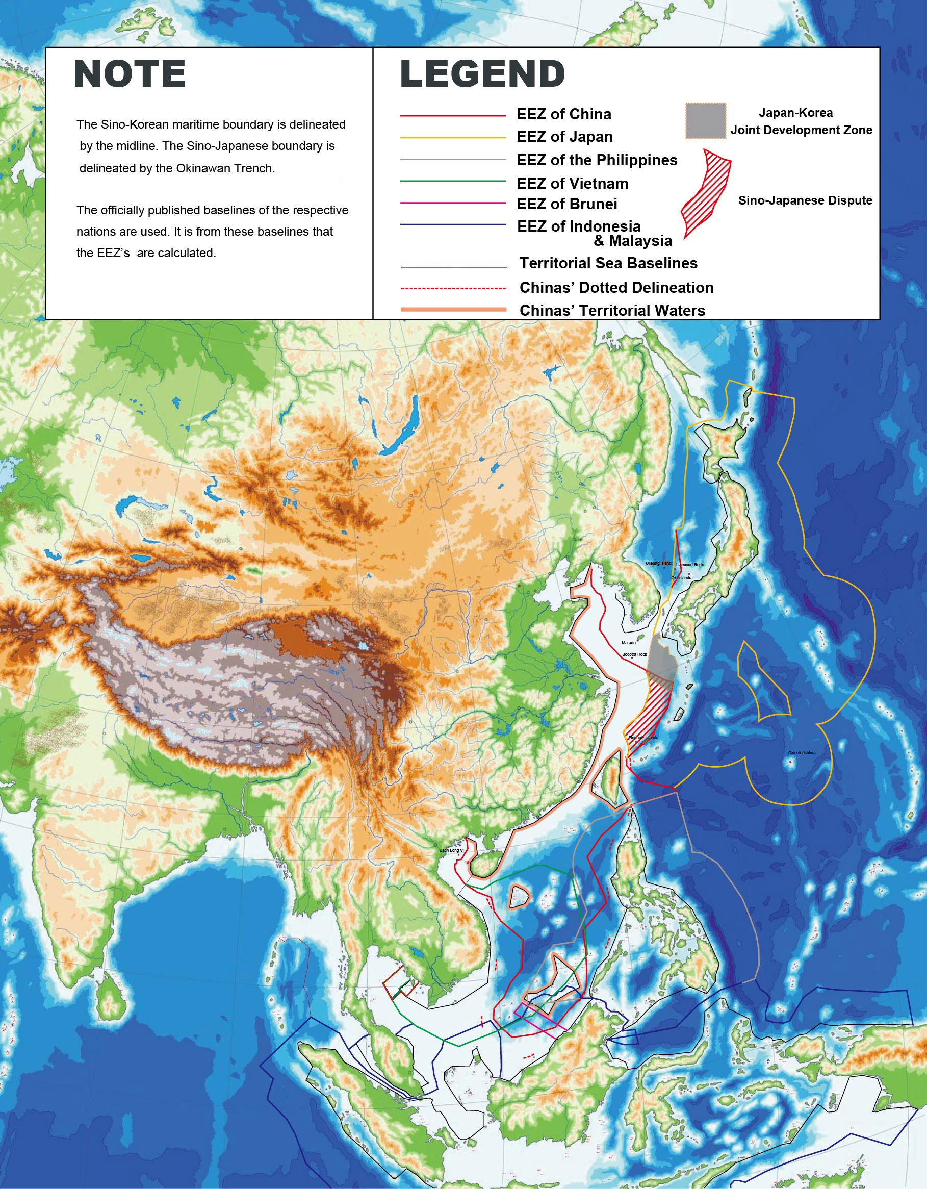 Boundary Map Of Asia.East Asia Territorial Waters Eez Baselines Map Mapsof Net