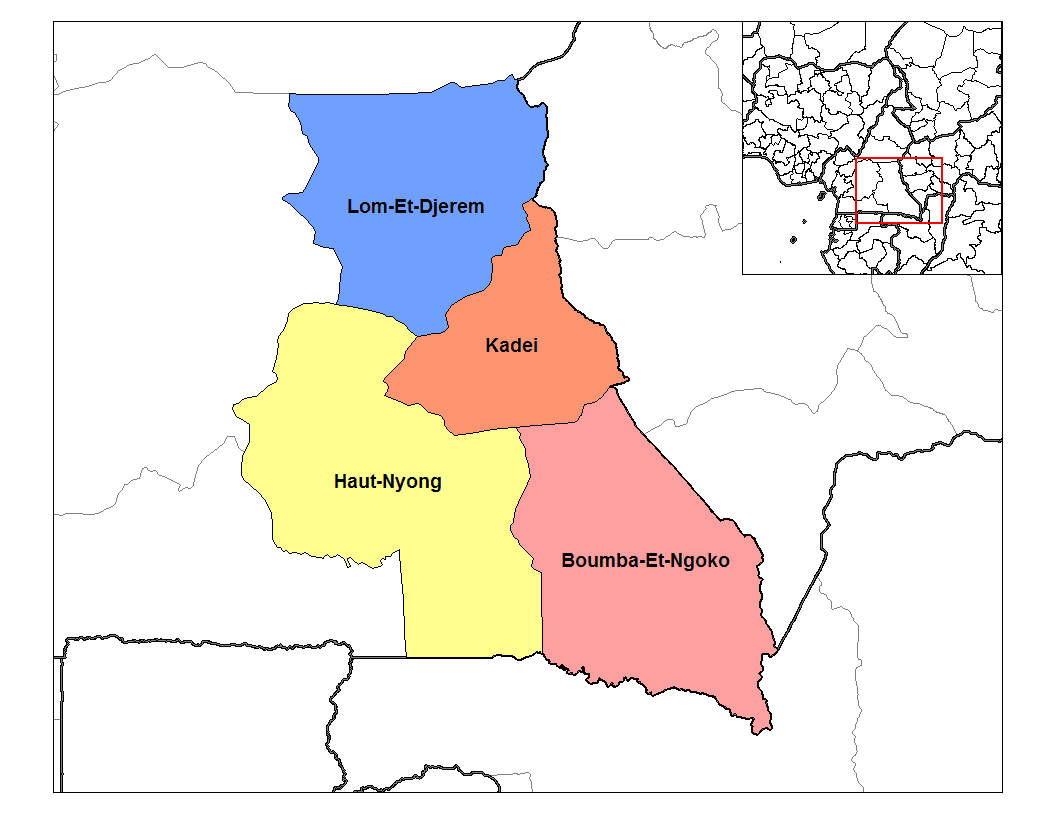 East Cameroon Divisions large map