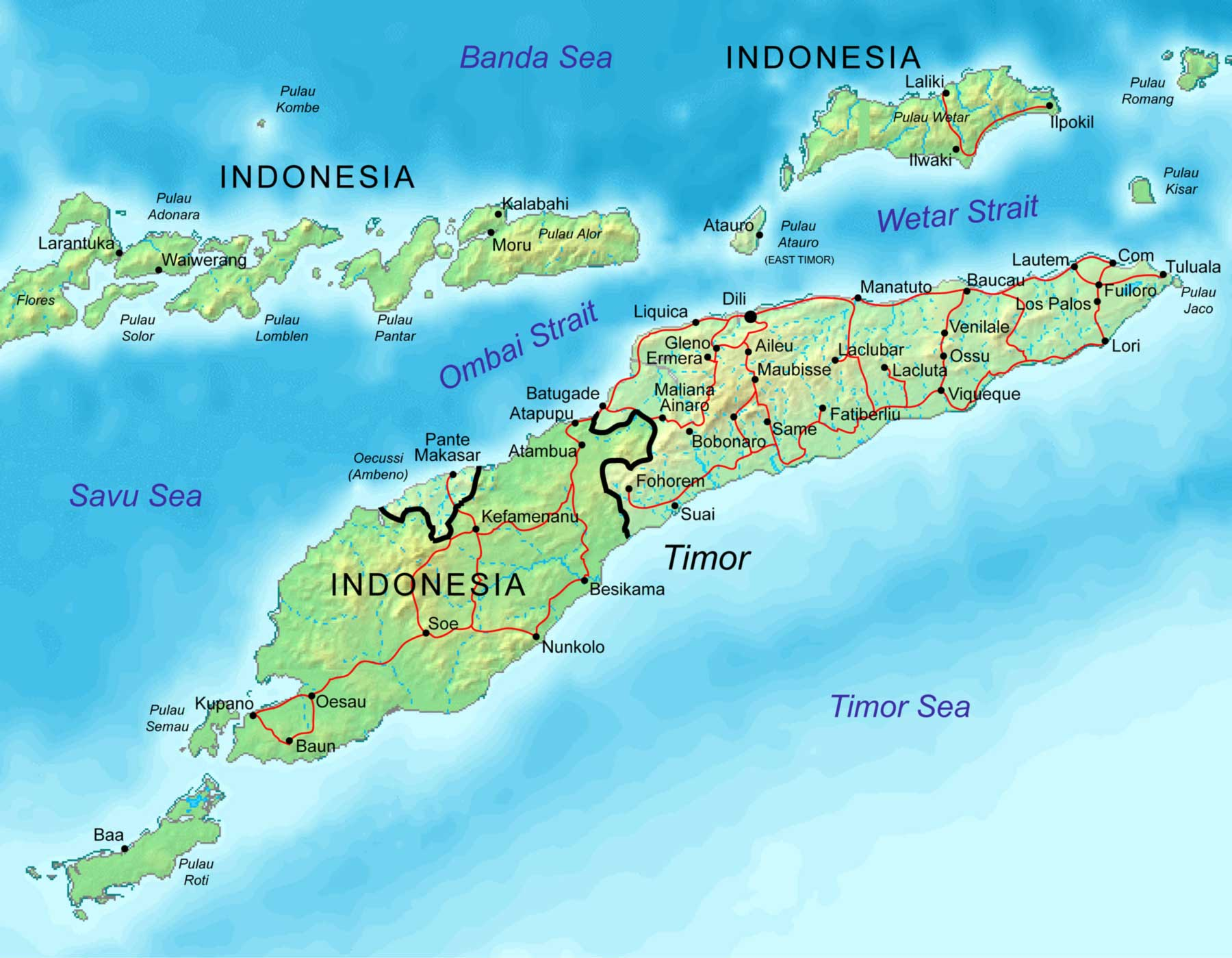 East Timor Map Mhn large map