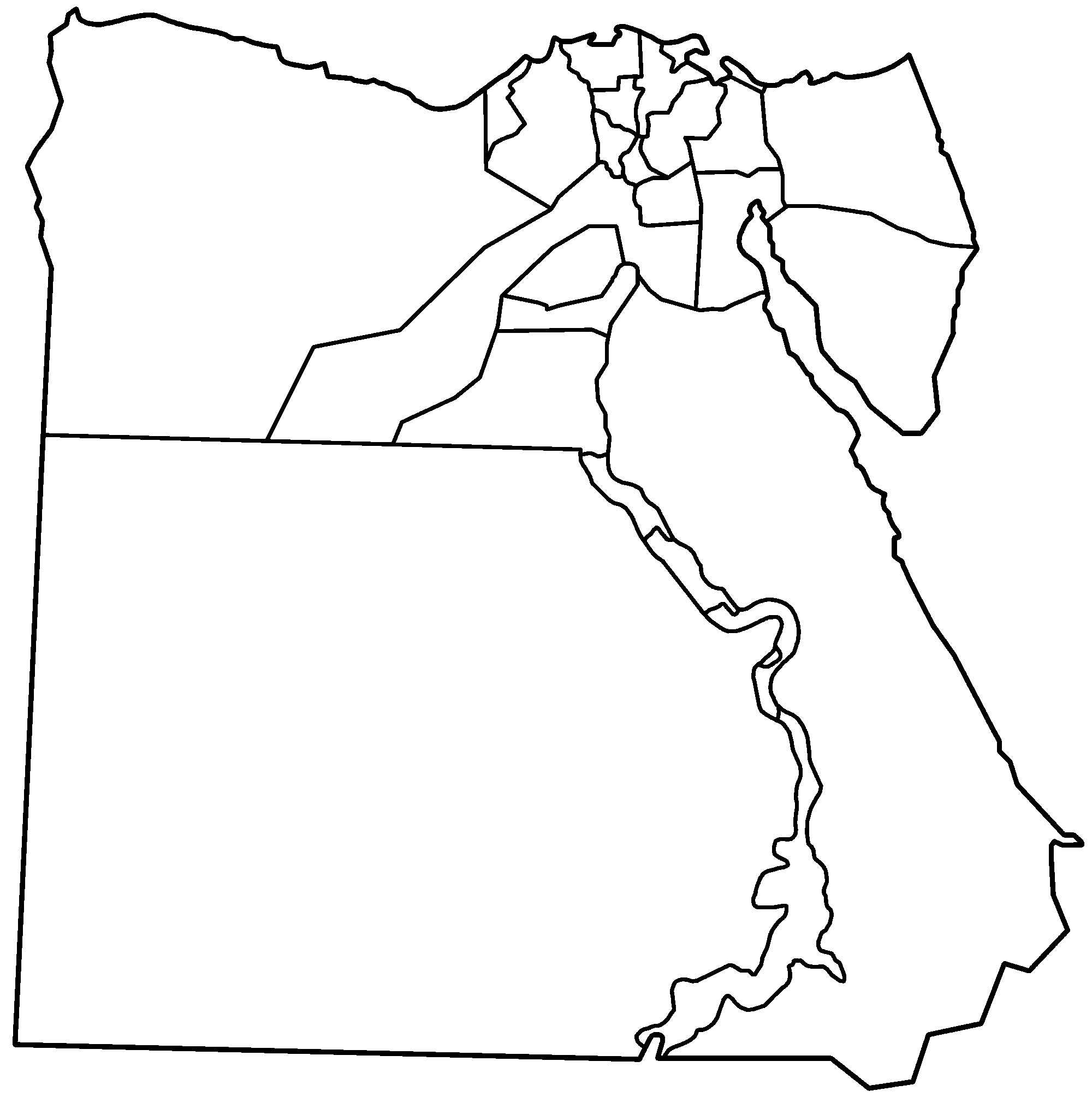 Egypt Governorates Blank • Mapsof.net